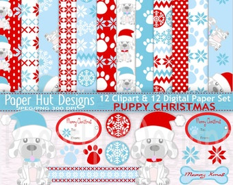 Christmas Digital Papers-Christmas Clipart & Paper Set-Holiday-Christmas Puppy Dog Clip Art-Paws-Labels-Blue and Red-BUY2GET1MOREFREE