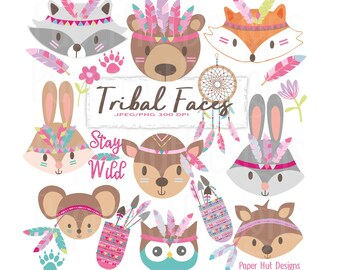 Tribal Faces Clipart-Woodland Animal Faces Clipart-Tribal Animal Clipart-Cute Nursery Animals-Forest Animals Clip Art-BUY2GET1MOREFREE