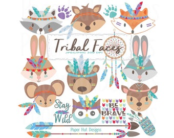 Tribal Animal Faces Clipart-Woodland Animals Clipart-Tribal Clipart-Cute Animals- Nursery Animals-Forest Animals Clip Art-BUY2GET1MOREFREE