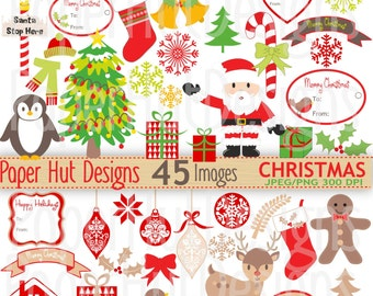 Christmas Clipart-Christmas Clip Art-Santa Claus Clipart-Holiday Clip Art-Father Christmas-Reindeer-Penguin-Gree- Red-Beige-BUY2GET1MOREFREE