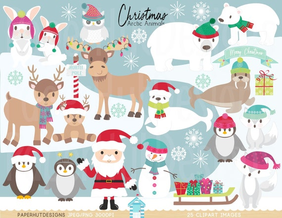 Christmas Arctic Animals Clipart-Polar Animals-Arctic Animals | Etsy
