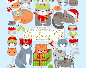 Christmas Cat Clipart-Christmas Clipart-Christmas Cat Clip Art-Christmas Kitties-Cat Clipart-Kittens Clipart-Cat Faces-BUY2GET1MOREFREE