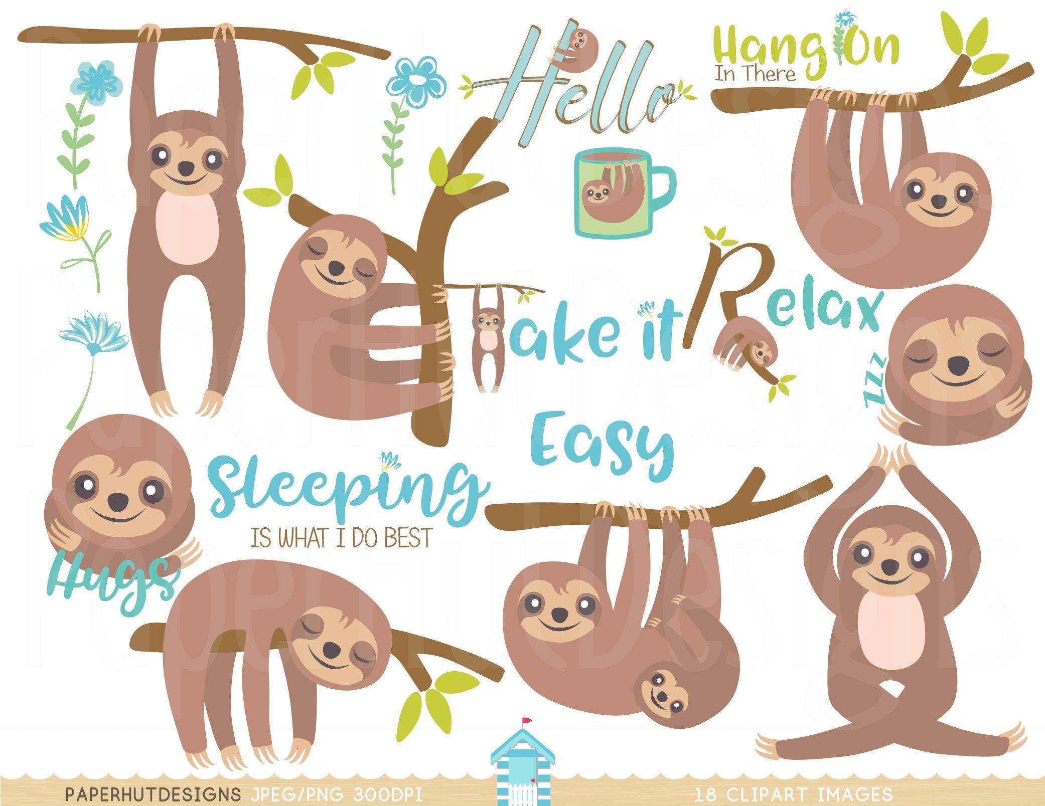 Sloth Clipart-Sloth Clip Art-Kawaii Clipart-Cute Sloth on ...