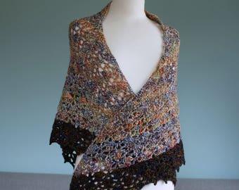 Rainbow Splash crochet shawl in handspun merino yarn