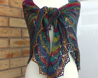 Rainbow colourful wool crochet shawl wrap