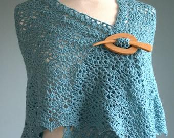 Soft Blue Crochet Lace Shawl Wrap Scarf in Merino Wool