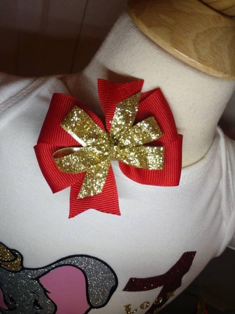 Circus birthday tutu outfit red gold gray custom shirt onsie with name matching ribbon tutu vinyl shirt and matching bow Dumbo inspired