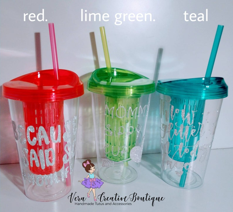 and teal 20oz plastic clear custom phrases Custom Tumbler fruit infuser with straw permanent pink image logo personalized red lime green