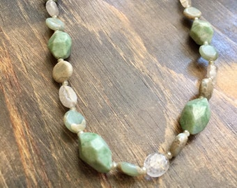 "22"" Beaded Jadeite Necklace, beaded necklace, gifts for women mom sister best friend wife girlfriend, green, gold"