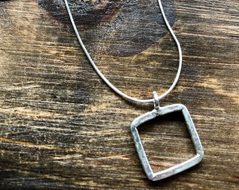 Sqaure Necklace, Sterling Silver, Minimalist Necklace, Simple Jewelry, Hill Tribe Silver, Silver Pendant, Casual Jewelry, square, geometric