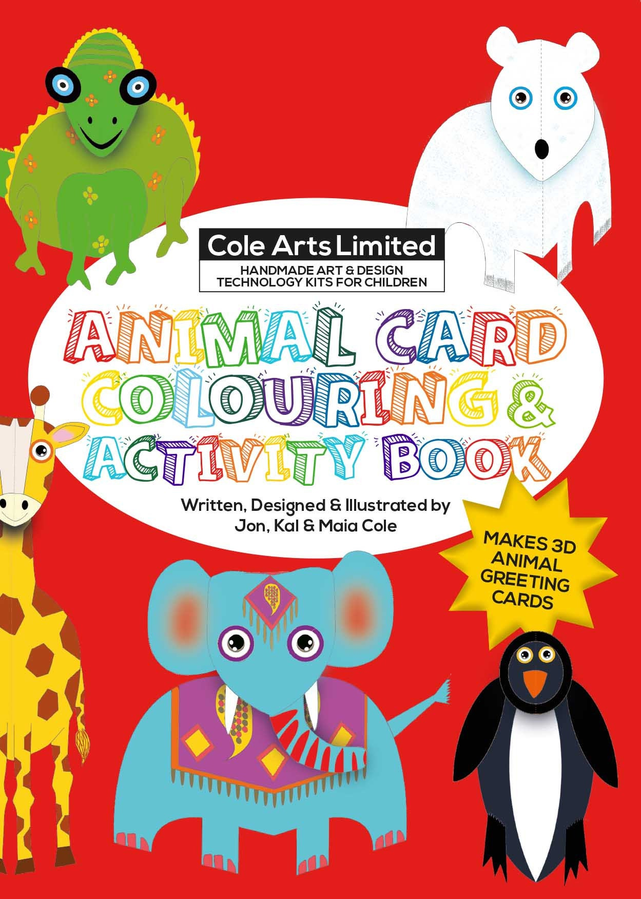 Animal Card Colouring Activity Book Etsy
