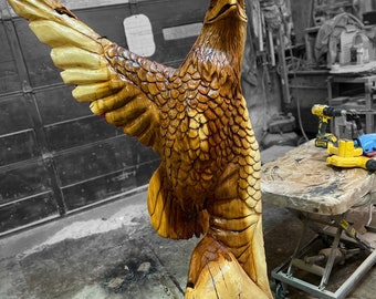 3' Natural Finish Chainsaw Carving: Eagle