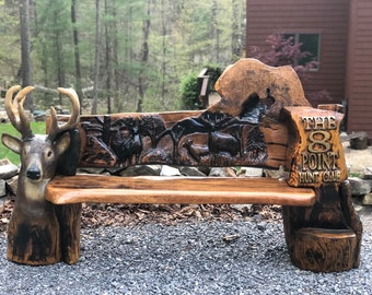 Chainsaw Carved Bench: Hunt Camp, but any theme can be accomplished!!