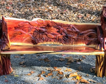 Custom Carved Cedar Bench: Chainsaw Carving and Jand Detailing
