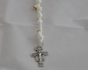 White Knotted Twine Single Decade Rosary with a San Damiano Crucifix