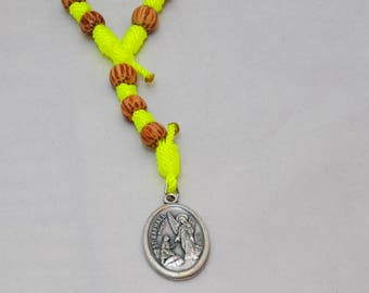 Unique St. Raphael Chaplet: Bright Yellow or Bright Green Knotted Twine and Palm Bead St. Raphael Chaplet