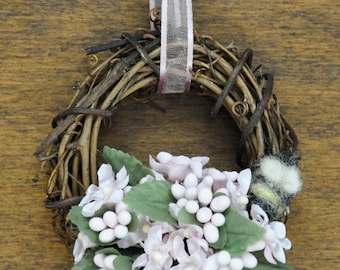 Pastel Pink Flower Mini Wreath with Tiny Needle Felted Wool Bee