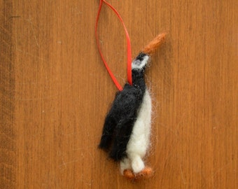 Fun and Unique Handmade Needle Felted Wool Extinct New Zealand Kairuku Penguin Bird Christmas Ornament
