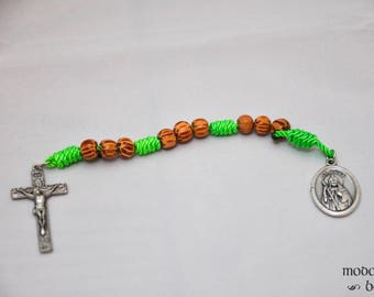 Unique St. Jude Chaplet: Bright Spring Green, the Color of Hope, Twine Knot and Palm Bead Chaplet with a Wood Style Metal Crucifix