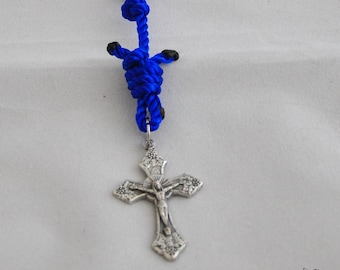 Blue Single Decade Knotted Twine Rosary