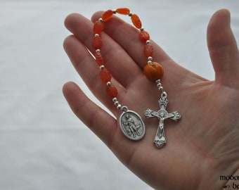 St. Isidore Patron Saint of Farmers One-Decade Kids' Rosary With Glass Pumpkin Our Father Bead, Carnelian Fall Leaf Beads, & Grape Crucifix