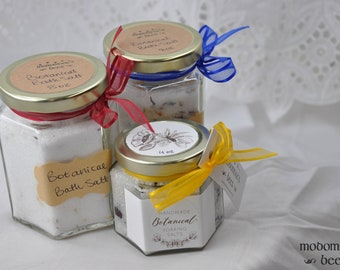 Handmade Botanical Bath Soaking Salts - 4 oz or 8 oz with a Lovely Lavender Ambrosia Floral Scent