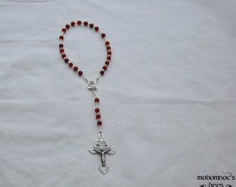 Purgatory Holy Souls Chaplet With Carnelian Beads, Sacred Heart Centerpiece, and Pardon Crucifix - Comes With Instructions