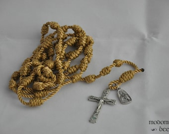 Golden Tan Our Lady of Guadalupe Knotted Twine Rosary Featuring a Floral Scroll Crucifix and an Our Lady of Guadalupe Figure Medal