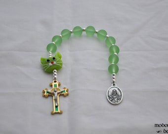 St. Gertrude Patron Saint of Cats Green Seaglass One-Decade Rosary with Green Lampworked Glass Cat Bead and Green & Gold Crucifix