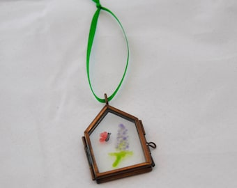 Butterfly & Buddleia Glass Painting Ornament, Window/Wall Hanging, Suncatcher