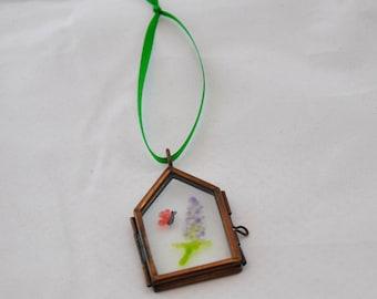 Butterfly & Buddleia Glass Painting Ornament, Window/Wall Hanging, Suncatcher