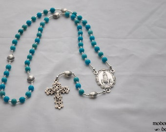 Turquoise Magnesite Our Lady of Fatima Rosary With Pewter Seashell Our Father Beads and Scalloped Centerpiece