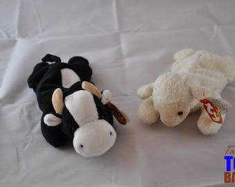 Vintage Beanie Baby Farm Set: Daisy the Cow (1994) & Fleece the Sheep (1996)