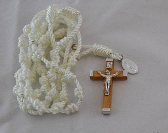 White Knotted Twine Rosary with Wood Crucifix and Miraculous Medal