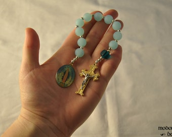 Beautiful Blue Seaglass One-Decade Rosary With Gold St. Benedict Crucifix and Color Miraculous Medal
