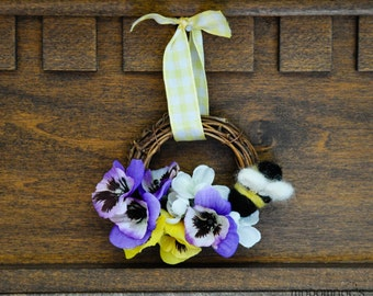 Purple and Yellow Pansy Bumblebee Wreath