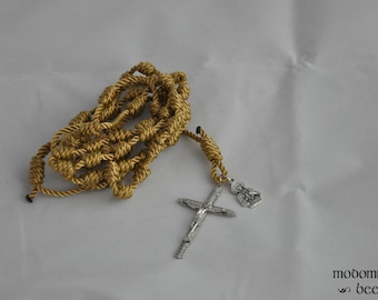 Golden Tan Knotted Rosary Featuring a St. Kateri Tekakwitha Patron Saint Figure Medal