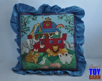 "12""x12"" Vintage Noah's Ark Pillow with Edge Ruffles"