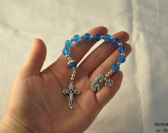 Blue Seaglass St. Joan of Arc One-Decade Rosary With Fleur-de-Lis Crucifix