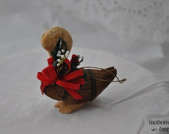 Wooden Goose Christmas Ornament with a Red Bow and Flowers