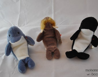 Sea Critters Set: Echo the Dolphin, Jolly the Walrus, and Waves the Orca / Killer Whale 1996 Vintage Ty Beanie Baby Toys