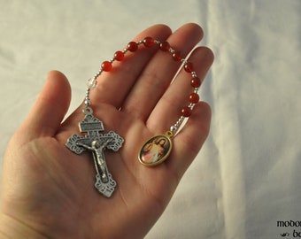 Divine Mercy One-Decade Rosary With Carnelian Beads, Pardon Crucifix, and Color Medal