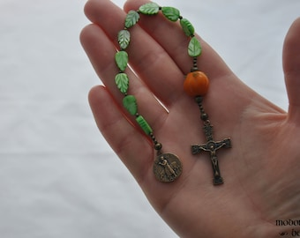 St. Isidore/St. Benedict Patron Saints of Farmers One-Decade Kids' Rosary With Glass Pumpkin OF Bead, Green Leaf Beads, and Bronze Crucifix