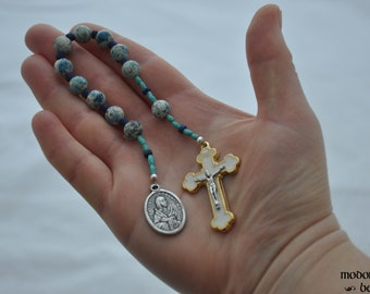 St. Kateri Tekakwitha One-Decade Rosary With K2 Jasper Beads, Turquoise and Lapis Lazuli Spacers, and White Crucifix