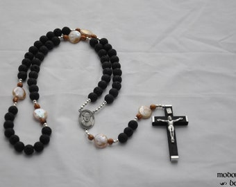 Unique St. Damien of Molokai Rosary With Lava Beads, Freshwater Pearl Our Father Beads and Palm Wood Spacers, and Black Wood Crucifix