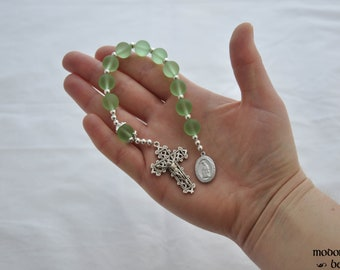 Our Lady of La Leche One-Decade Rosary With Green Seaglass Beads
