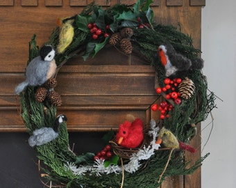 Winter Bird Wreath Featuring Wool Cedar Waxwing, Cardinals, European Robin, Chickadee, and Canadian Goose with Holly and Real Cedar