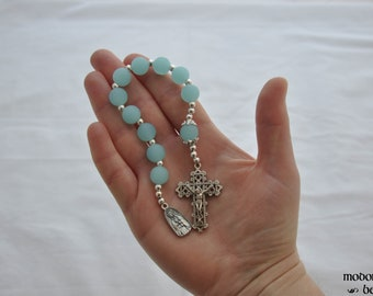 Beautiful Our Lady of Guadalupe One-Decade Rosary With Turquoise Seaglass Beads