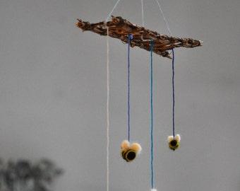 Bee Mobile!  Needle-Felted Wool Bumblebee Mobile