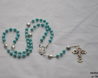 Turquoise Magnesite Star of the Sea Rosary With Pewter Seashell Our Father Beads and Lattice Crucifix